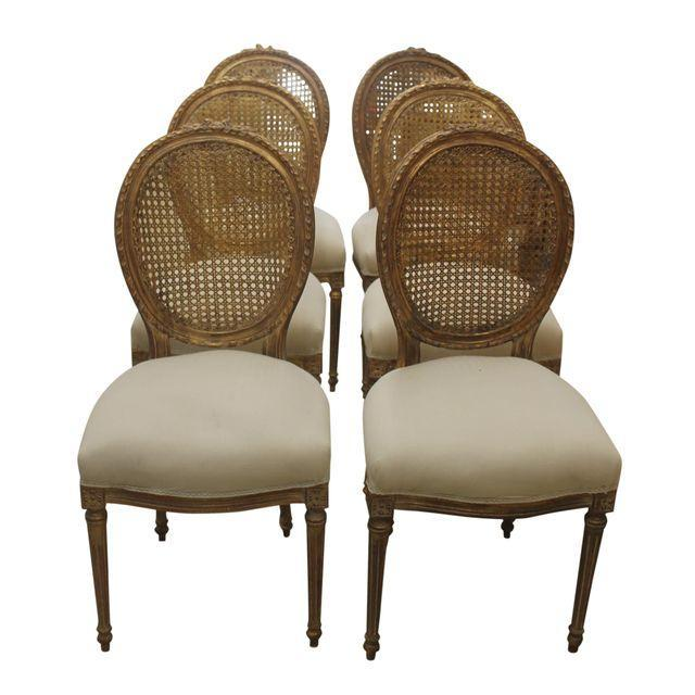 French Louis XVI Gilt Cane Caned Chairs - Set of 6 - Image 1 of 6