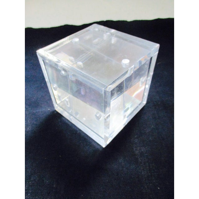 Lucite Cube Paperweight Picture Frame - Image 3 of 9