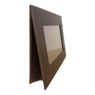Arte & Cuoio Leather Accordion Stand Picture Frame For Sale
