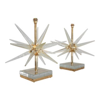 Starburst Murano Glass Lamps - a Pair For Sale