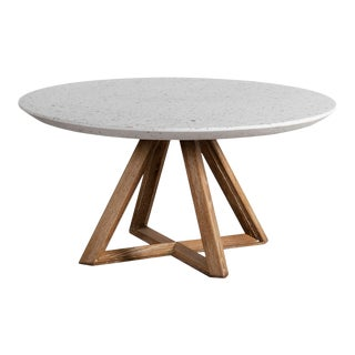 Outdoor White Terrazzo & Oak Coffee Table For Sale
