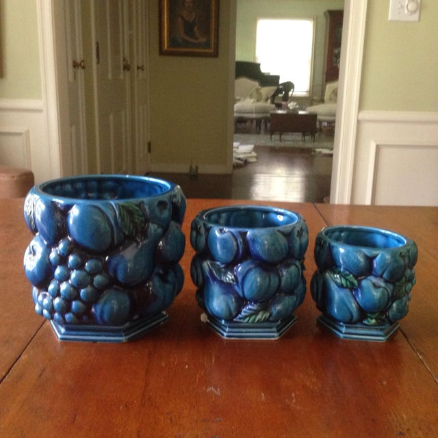 Asian Inarco Japanese Pottery Planters - Set of 3 For Sale - Image 3 of 11