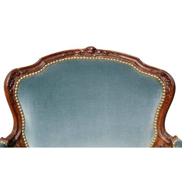 French Pair of Louis XV Style Walnut Fauteuil For Sale - Image 3 of 11