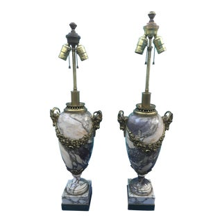 Hollywood Regency Marble/ Brass Table - a Pair