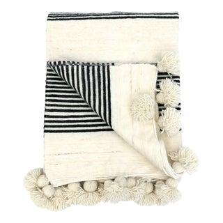 Black & Ivory Striped Moroccan Wool Pom Pom Blanket