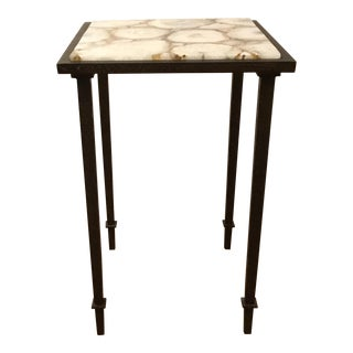 Studio a Modern Sliced Agate Grand Hall Side Table For Sale