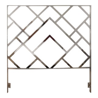 Milo Baughman Style Chrome Mid-Century Modern Queen Size Headboard For Sale