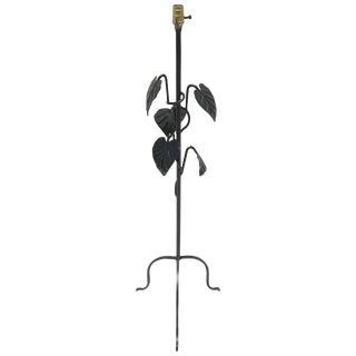 Salterini Style Wrought Iron Leaf Motif Floor Lamp For Sale