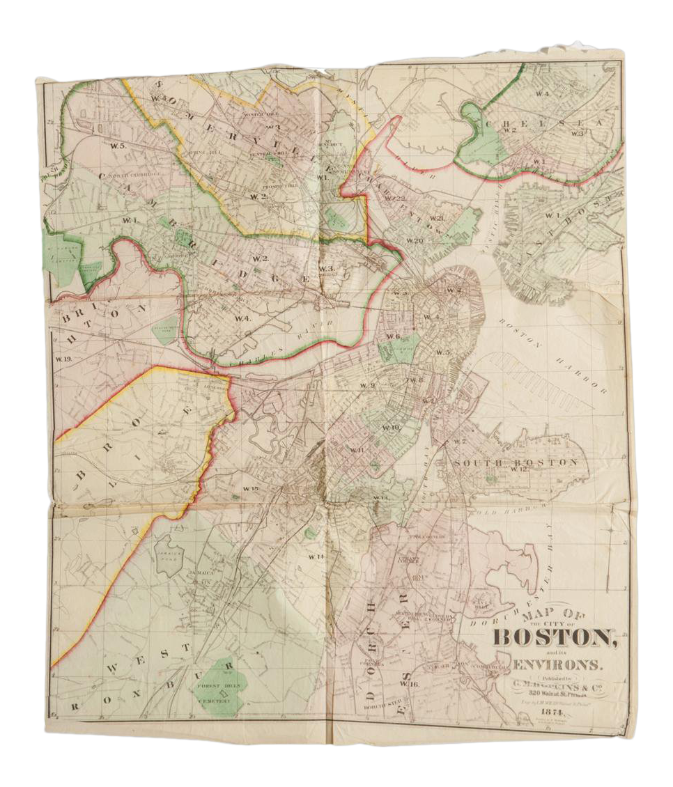 Antique Boston Map.Antique Folding Map Of City Of Boston And Its Environs 1874 Chairish