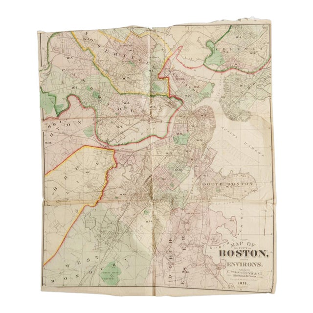 Antique Folding Map of City of Boston and Its Environs 1874 For Sale