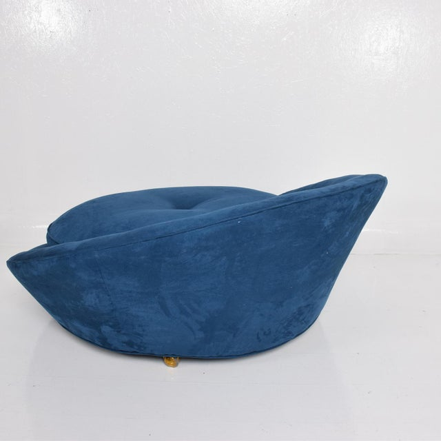 1970s Mid-Century Modern Adrian Pearsall Large Lounge Chair in Blue Velvet Milo Baughman For Sale - Image 5 of 9