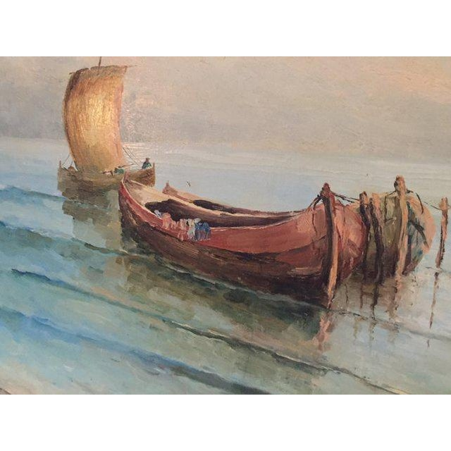 Mid-century oil painting on canvas, framed boats at sea painting, tranquil ocean painting, Italian Amalfi Coast painting....