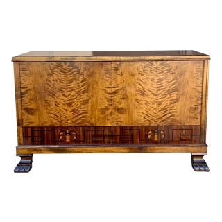 Swedish Art Deco Inlaid Sideboard Cabinet in Golden Flame Birch and Rosewood Circa 1930 For Sale