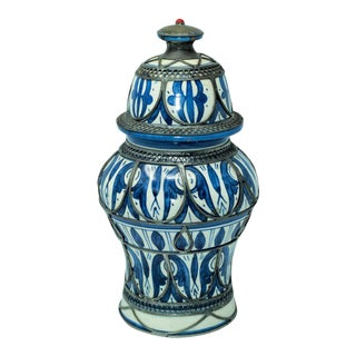 Moroccan Ceramic Vase from Fez Blue and White with Silver Filigree For Sale