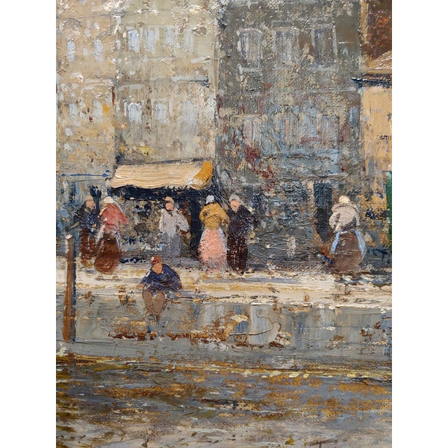 Canvas Old Amsterdam With Boats - 19th Century Dutch Impressionist Oil Painting For Sale - Image 7 of 11