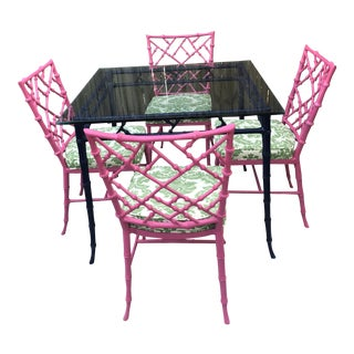 Phyllis Morris Faux Bamboo Dining Table and Chairs For Sale