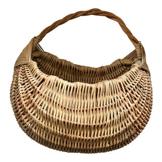 Vintage Wicker Wall Pocket Basket For Sale