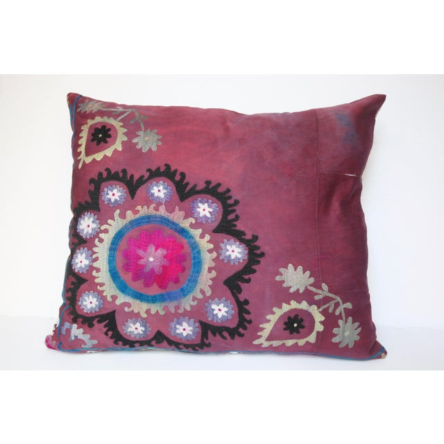 Vintage Suzani Sofa Throw Pillow Cover For Sale - Image 11 of 11