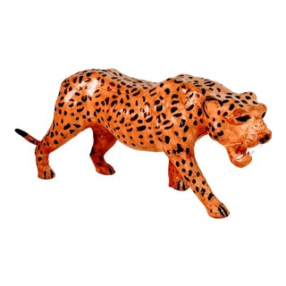 Vintage Leather Leopard Figure Cheetah African Animal Sculpture Wildlife Wild Cat Africa Faux For Sale