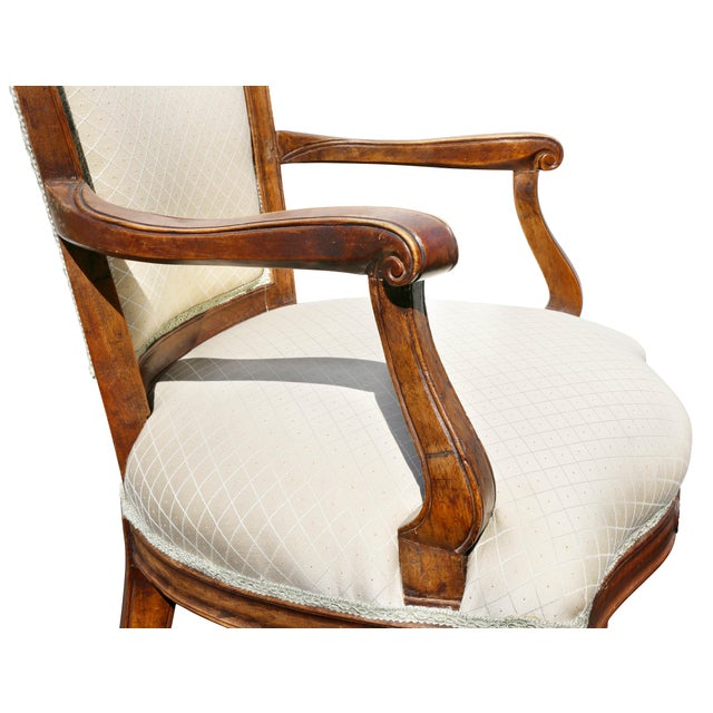 Neoclassical Pair of Italian Neoclassic Walnut Armchairs For Sale - Image 3 of 13