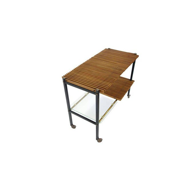 Mid Century Italian Wood Slat and Glass Console - Image 2 of 7