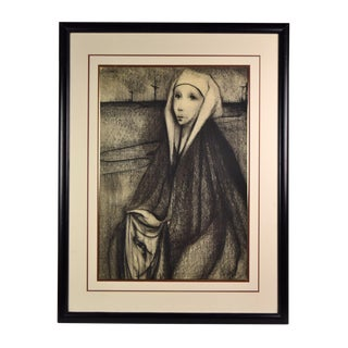 French Mid-Century Surrealist Charcoal Drawing Veronica With the Face of Christ For Sale
