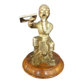 Dunce Cigar Tip Cutter, Bronze Sculpture Tobacco Accessory, 19th Century For Sale