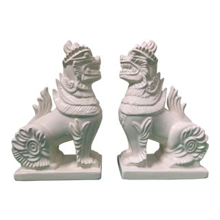 Ceramic Chinese Foo Dogs Bookends - A Pair For Sale