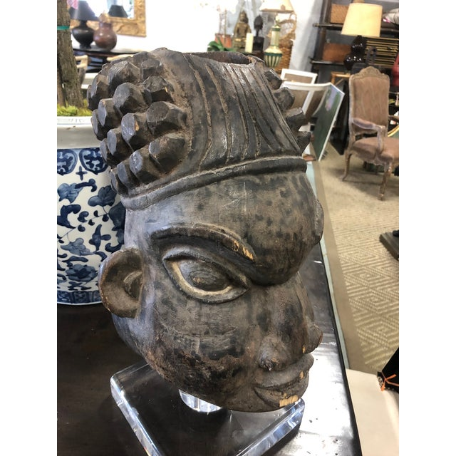 Mid 20th Century Vintage Mid-Century Decorative Head African Sculpture For Sale - Image 5 of 8