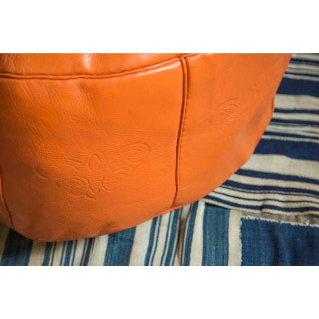 Antique Revival Orange Leather Pouf Ottoman For Sale - Image 5 of 9