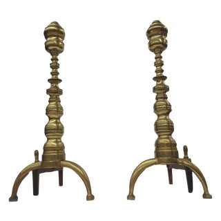 Vintage Aged Brass Andirons - A Pair For Sale