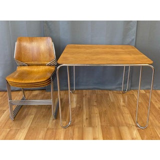 David Rowland Oak 40/4 Stacking Chairs and Unusual Table, Five-Piece Set Preview