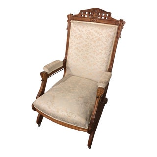 Late 19th Century Antique Upholstered Rocking Chair For Sale