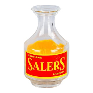 Mid 20th Century French Glass Carafe Advertising Salers Liqueur For Sale