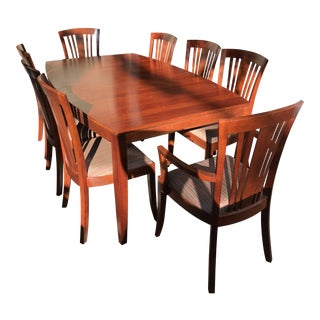 "Stickley ""Boat Shaped"" Dining Table & Bayonne Chairs For Sale"