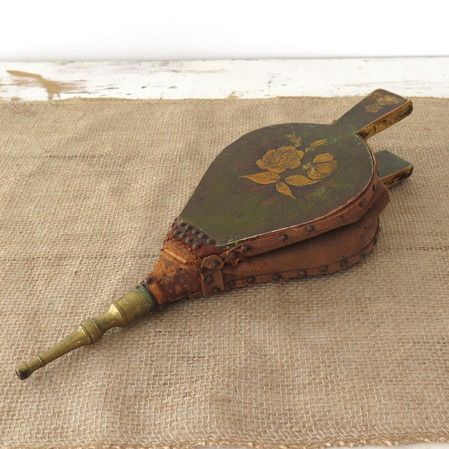 Antique painted bellows would add vintage charm to your fireplace! The hardwood is painted green with a floral design in...