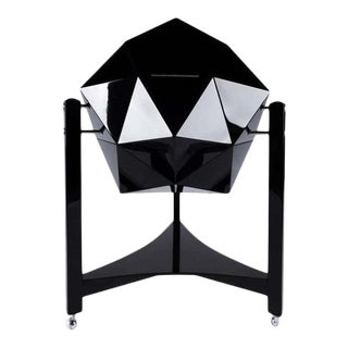 Modern Ico Parisi Rolling Bar Cart, Black Lacquer & Chrome Polyhedron Shaped For Sale