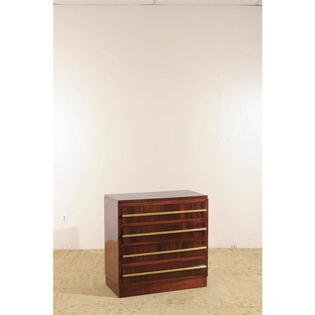 Signed Andre Sornay Chest in Ribbon Mahogany and Brass For Sale - Image 10 of 11