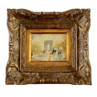 Antique 19th C., Victorian Impressionist - A. Montesinos - Spring Walk in Champs Elysées Paris - Original Oil Painting Signed For Sale