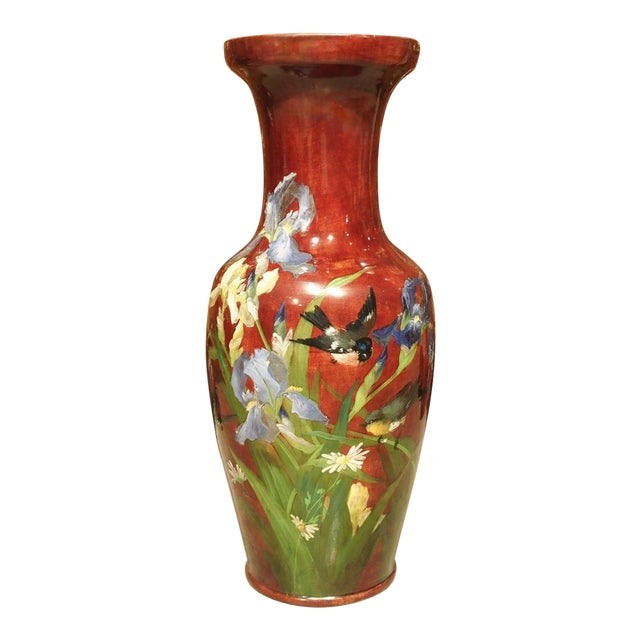Grand Antique French Barbotine Vase, Parisian School Late 1800s For Sale