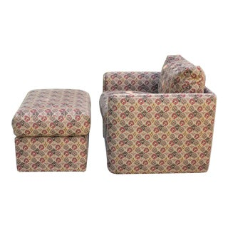 70s Cube Lounge Chair With Down Cushions and Ottoman For Sale