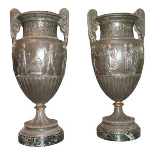 19th Century French Neoclassical Style Urns on Marble Bases-A Pair For Sale