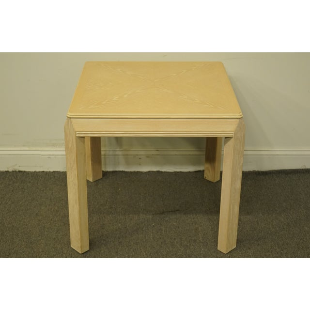 """Contemporary 20th Century Transitional Drexel Heritage Collection Contemporary Blonde 27"""" Square Accent Table For Sale - Image 3 of 10"""