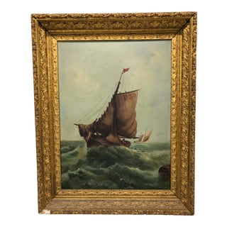 19th-C. Antique Clipper Ship Oil on Canvas Framed Seascape Painting For Sale