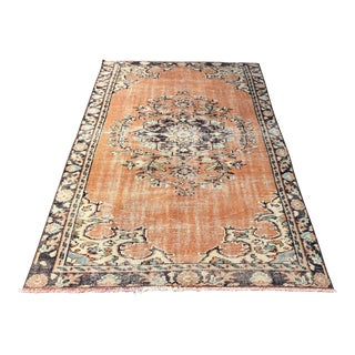 "Oushak Handmade Distressed Rug-5'2'x8'4"" For Sale"