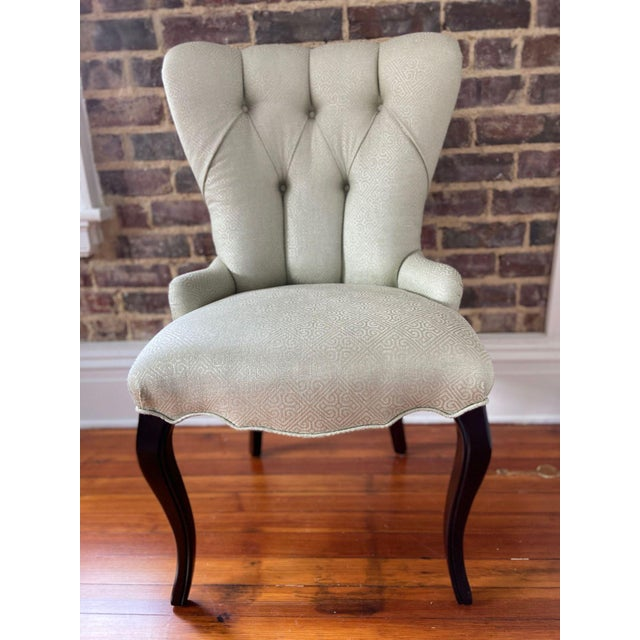 2000 - 2009 Baker Furniture Tufted Occasional Chair For Sale - Image 5 of 5