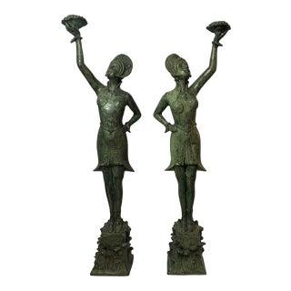 1930s Vintage Bronze Art Deco Dancers Candle Holders- A Pair For Sale