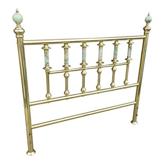 Traditional Brass Double Headboard With Onyx Spires & Spheres For Sale