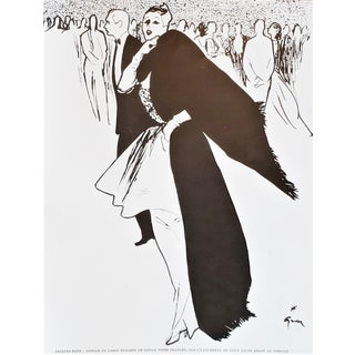 Matted Mid-Century Jacques Fath Fashion Print by Gruau For Sale
