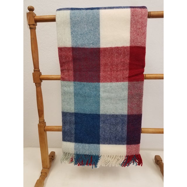 Wool Throw Red Blue White Square Stripes - Made in England For Sale - Image 12 of 12